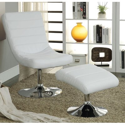 Valerie Lounge Chair with Ottoman Upholstery: White