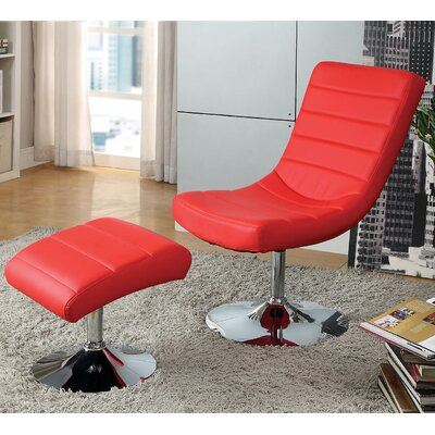 Valerie Lounge Chair with Ottoman Upholstery: Red