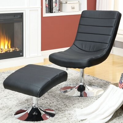 Valerie Lounge Chair with Ottoman Upholstery: Black