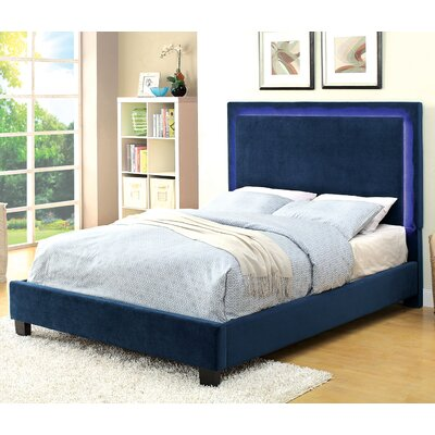 Erglow Upholstered Platform Bed Size: Queen, Color: Navy