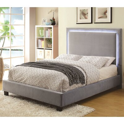 Erglow Upholstered Platform Bed Size: Queen, Color: Gray