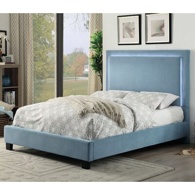 Erglow Upholstered Platform Bed Size: King, Color: Blue