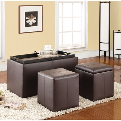 Elias 3 Piece Storage Bench and Ottoman Set