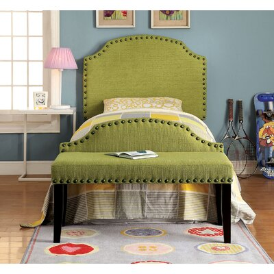 Ally Twin Upholstered Panel Headboard Upholstery: Green