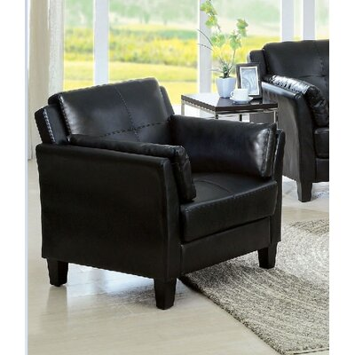 Double Stitching Armchair Upholstery: Black