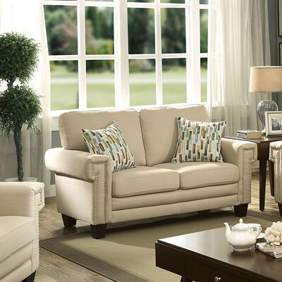 Ivory Fabric Nailhead Loveseat Upholstery: Beige
