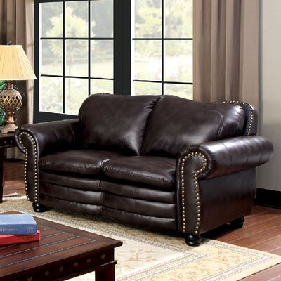 Zuri Nailhead Leather Loveseat