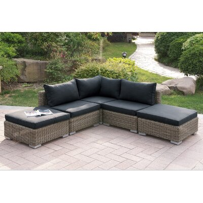 Harvey 5 Piece Patio Sectional Set I with Cushions