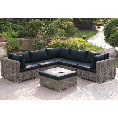 Harvey 6 Piece Patio Sectional Set II with Cushions