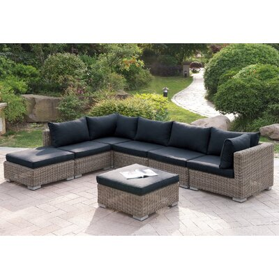 Harvey 7 Piece Patio Sectional Set with Cushions