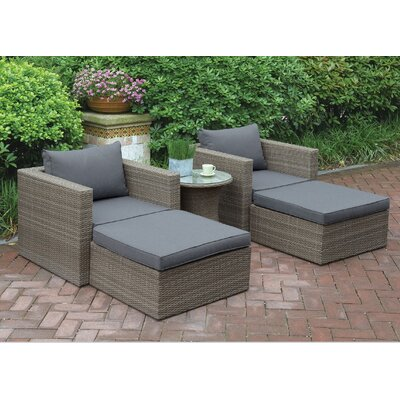Welter 5 Piece Patio Lounge Seating Group with Cushions Finish: Brown