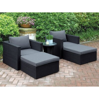 Welter 5 Piece Patio Lounge Seating Group with Cushions Finish: Black