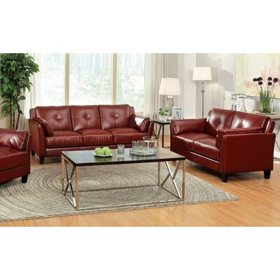 Newport Sofa and Loveseat Set Color: Red