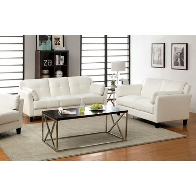 Newport 2 Piece Living Room Set Color: White