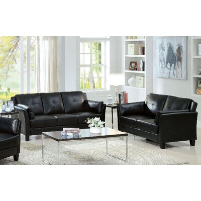Newport 2 Piece Living Room Set Color: Black
