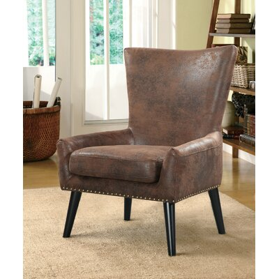 Zita High Back Arm Chair Upholstery: Brown