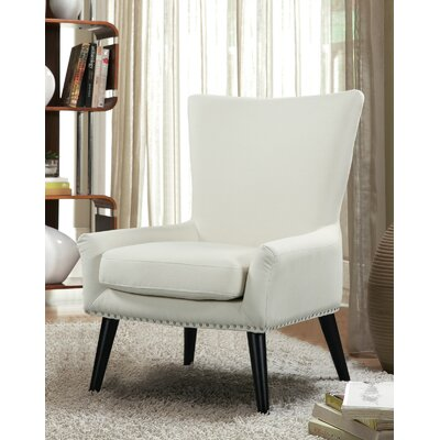 High Back Armchair Color: Beige