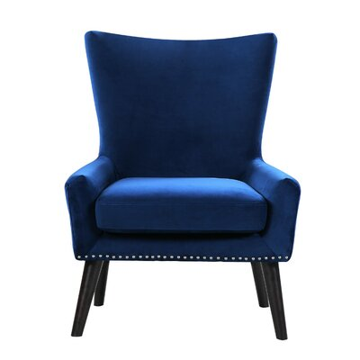 High Back Arm Chair Color: Blue
