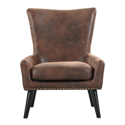 High Back Armchair Color: Brown