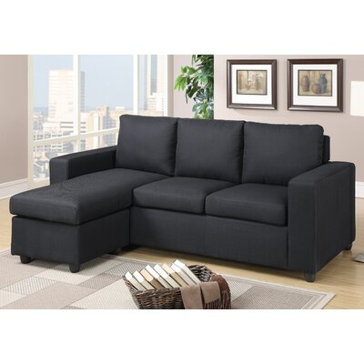Rossa Reversible Modular Sectional Upholstery: Black