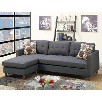 Mendosia Reversible Sectional Upholstery: Gray
