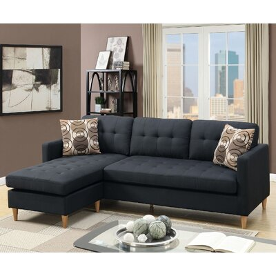 Mendosia Reversible Sectional Upholstery: Black