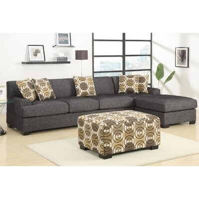Arroyo Reversible Sectional with Ottoman Upholstery: Ash Black