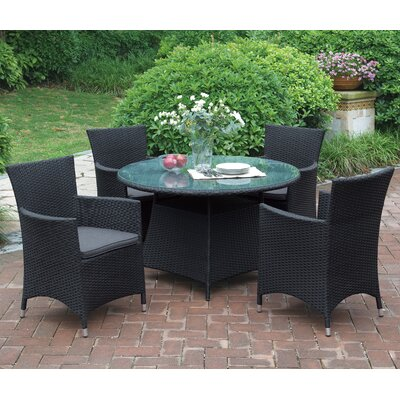 Joey 5 Piece Dining Set with Cushions Finish: Black
