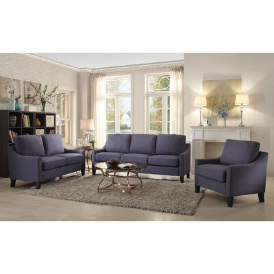 Bracken 3 Piece Living Room Set Upholstery: Blue