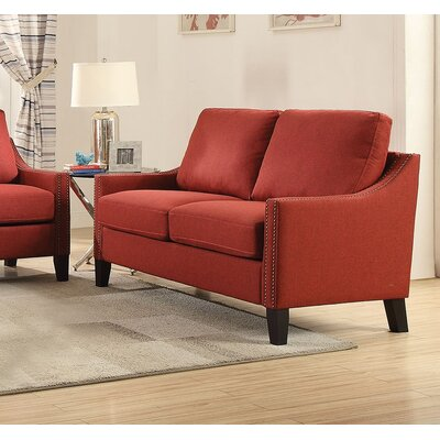Zuka Loveseat Upholstery: Red