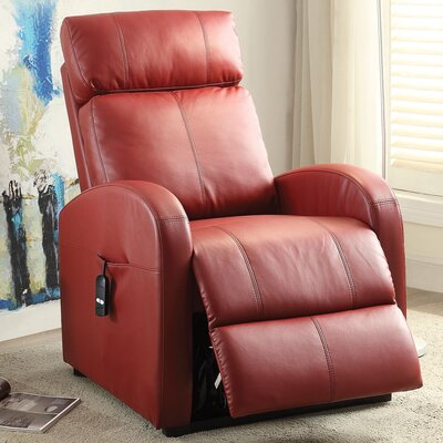 Ricardo Leather Recliner Upholstery: Red