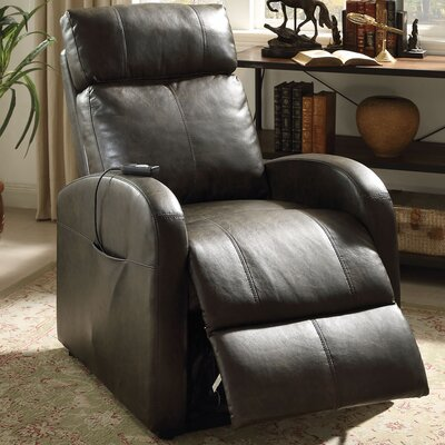 Ricardo Leather Recliner Upholstery: Dark Gray