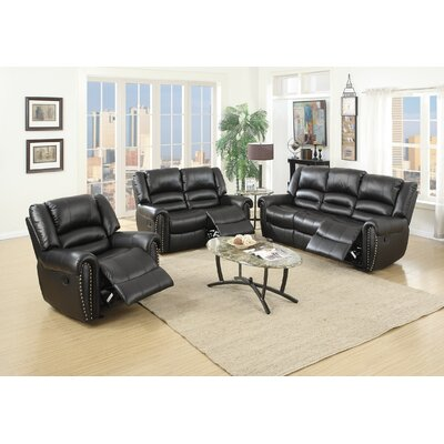Miltonsburg 3 Piece Living Room Set Upholstery: Black