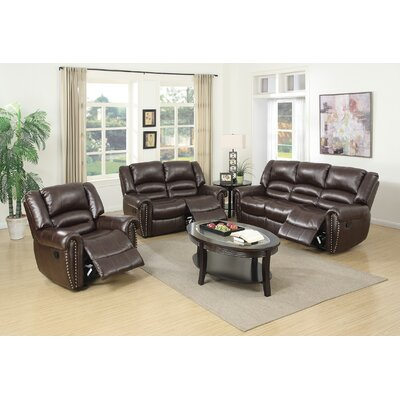Miltonsburg 3 Piece Living Room Set Upholstery: Brown