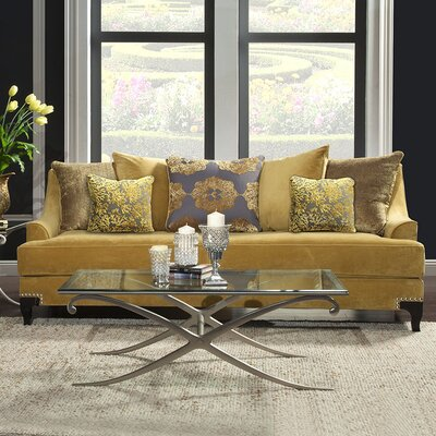 Viscontti Loveseat Upholstery: Gold