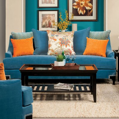 Viscontti Loveseat Upholstery: Peacock blue