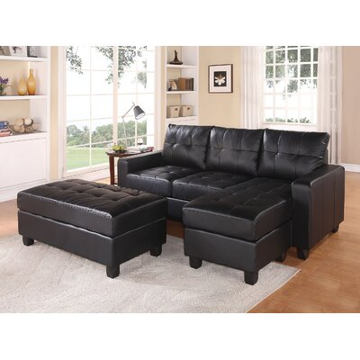 Batson Reversible Sectional Upholstery: Black