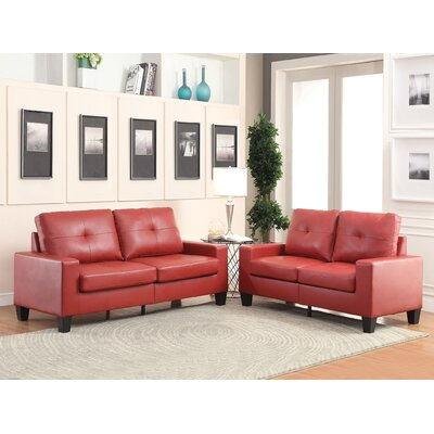 Dipesh Sofa and Loveseat Set Upholstery: Red