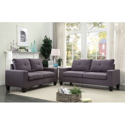 Dipesh Sofa and Loveseat Set Upholstery: Gray