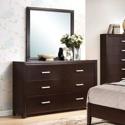 Wen Contemporary 6 Drawer Dresser with Mirror