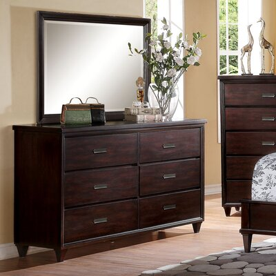 Eliot 6 Drawer Standard Dresser with Mirror