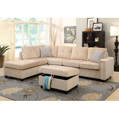 Tavish Reversible Sectional with Ottoman Upholstery: Beige
