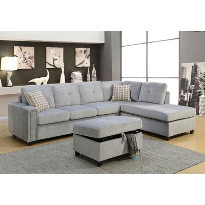 Tavish Reversible Sectional with Ottoman Upholstery: Gray