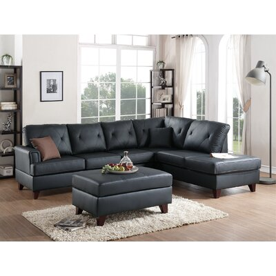 Allene Reversible Sectional with Ottoman