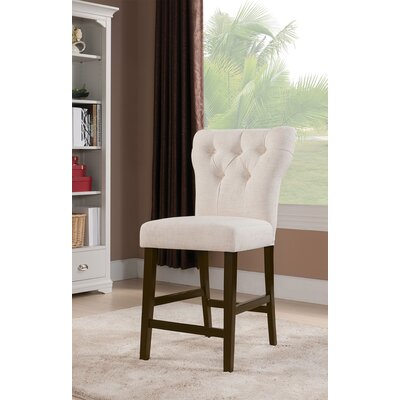 Meyersdale Counter Height Upholstered Dining Chair Upholstery Color: Beige