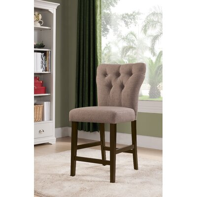 Meyersdale Counter Height Upholstered Dining Chair Upholstery Color: Light Brown