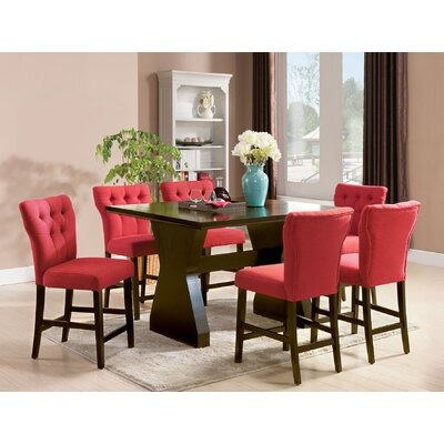 Meyersdale 6 Piece Counter Height Dining Set Chair Color: Red
