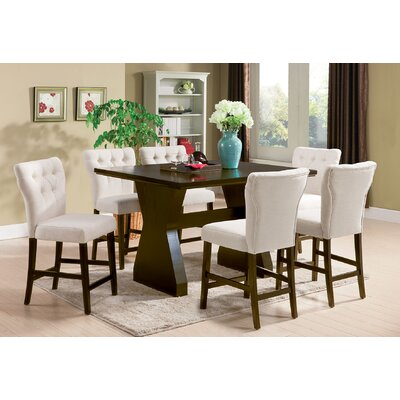 Meyersdale 6 Piece Counter Height Dining Set Chair Color: Beige