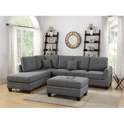 Lieber 3 Piece Living Room Set Upholstery: Ash Black