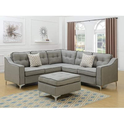 Bacher 4 Piece Living Room Set Upholstery: Light Gray